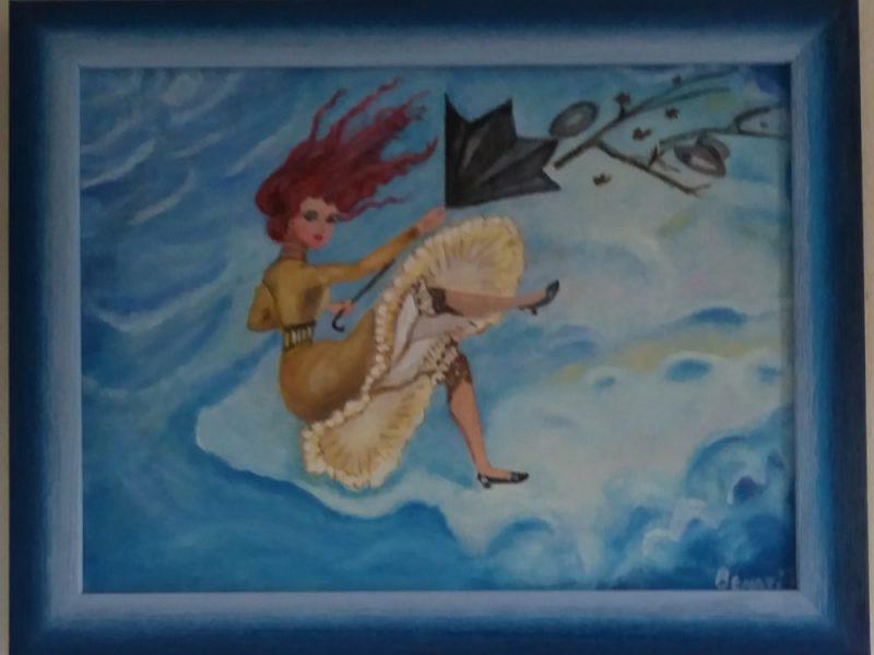 Il dipinto di una donna tra le nuvole