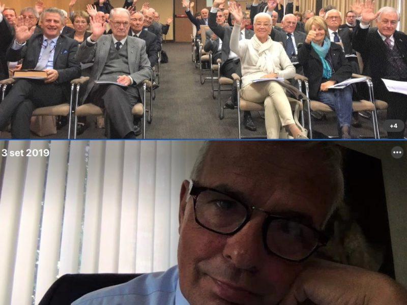 Il fotogramma di una videoconferenza