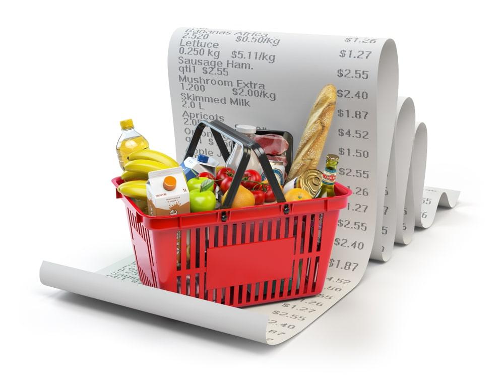 Paniere della spesa con scontrino