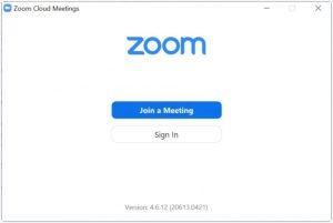 Schermata di apertura di Zoom