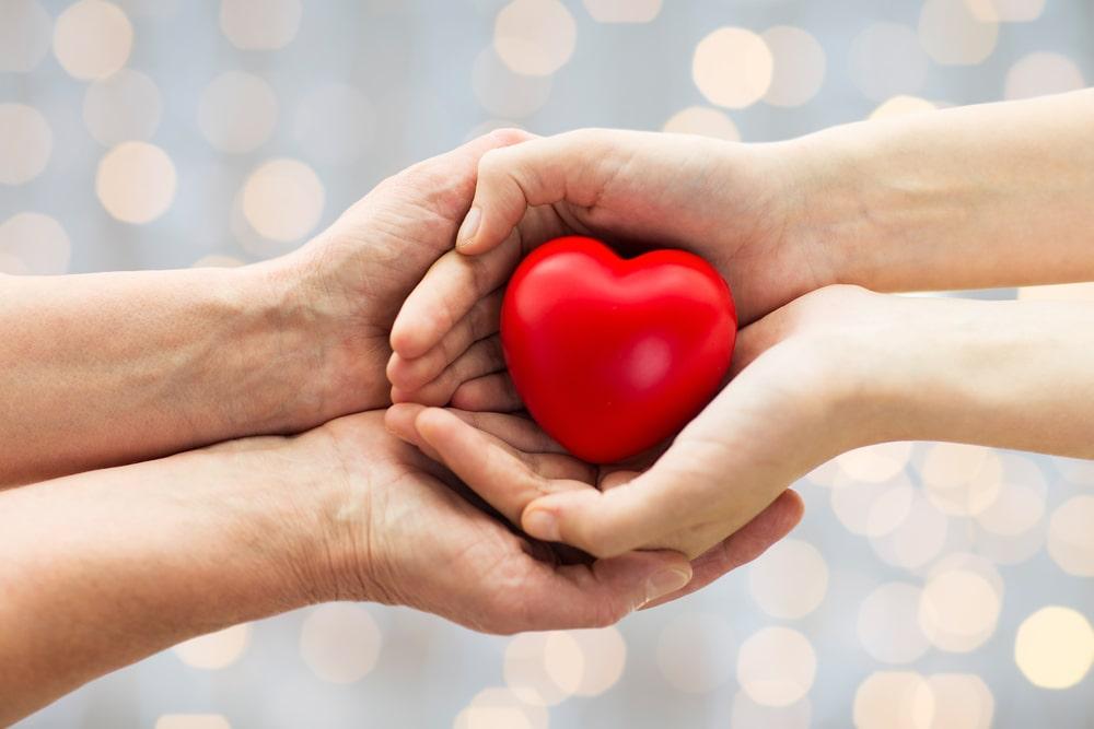 Due mani reggono un cuore