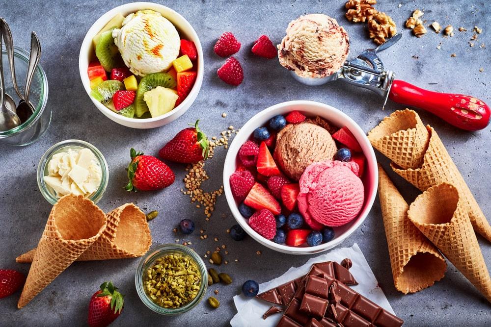 Gusti di gelato alla frutta